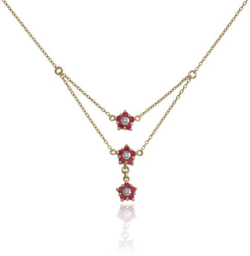 18k Yellow Gold Plated Sterling Silver 3-Row Ruby Flower Necklace