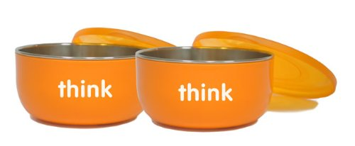 thinkbaby BPA Free Cereal Bowl, Orange, 2 pack - 1