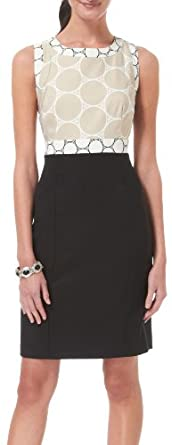 AGB Retro Circles Sheath Dress BEIGE BLACK 16