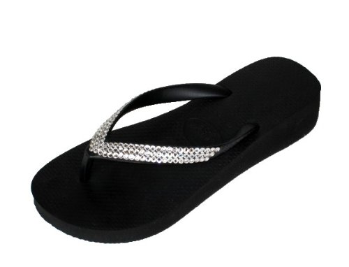 Cheap BLACK CLEAR 1.5″ LOW WEDGE Swarovski Crystal Havaianas Flip Flops Sandals Thongs sizes 5-10 (B002HNANUK)