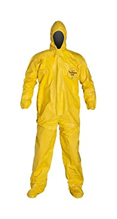 DuPont Tychem QC122T Fabric Coverall with Hood, Elastic Cuff, 4X-Large, Yellow (Pack of 4)