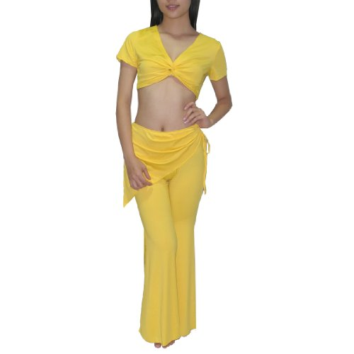 2Pcs:Ladies Exotic Belly Dance Short Sleeves Top & Skirt Pant