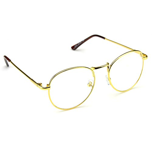 PenSee Oval Classic Retro Metal Frame Clear Lens Round Circle Eye Glasses 1