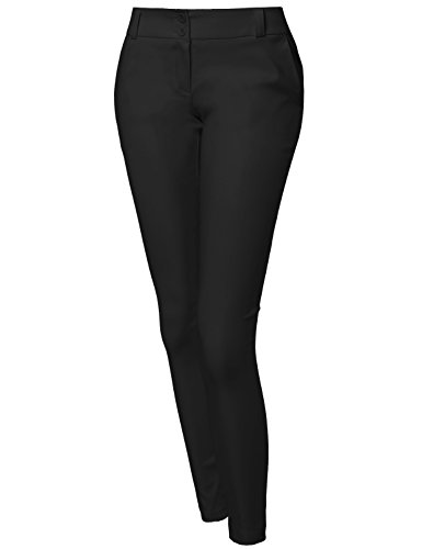 Basic Good Stretchy Two Buttons Casual Pants Black M