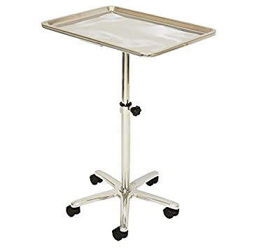 LCL Beauty Extra Large Stainless Steel Single-Post Mayo Instrument Stand & Work Tray