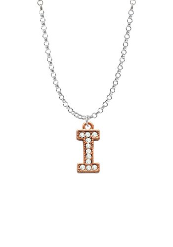 Crystal Rose Gold Tone Initial - I - Necklace