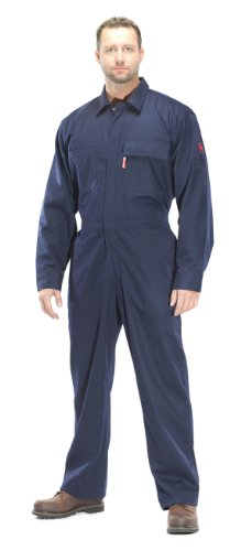 Benchmark Men'S Flame Resistant Feather Weight 2.0 Coverall, Dual Hazard, Hrc 2, Nfpa 2112, Navy, 2X-Large front-618547