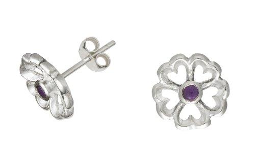 Dower & Hall Forget Me Not - Solid Sterling Silver Amethyst Set Filigree Petal Stud Earrings