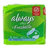 THREE PACKS of Always Ultra & Freshelle Normal (Pad and Moist Wipe Set x 12)