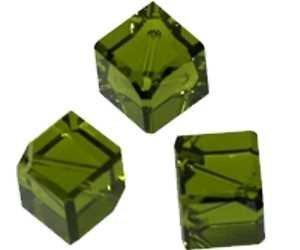 Swarovski perla, dadi, diagonal trivellava, 10 pcs, 4 mm,, Vetro, 24 olivine