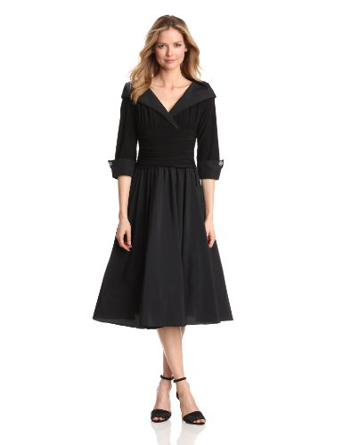 Jessica Howard Women's Portrait Collar Dress With Rhinestone Cuffs, Black, 10