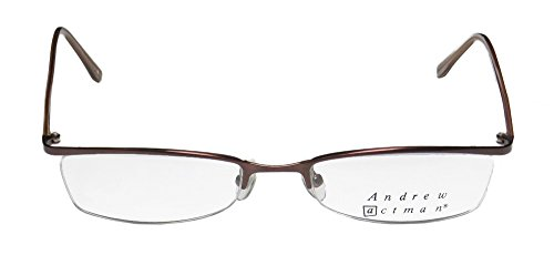 Andrew Actman Escort Mens/Womens Designer Half-rim Eyeglasses/Spectacles (52-19-140, Brown)