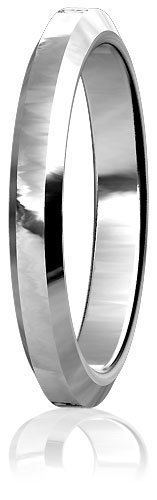 Plain Mens or Ladies Bevel Edge Wedding Band, 3mm wide, 2mm thick, comfort fit in Sterling Silver - size 4.75