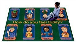 "Joy Carpets Kid Essentials Music & Special Needs Signs of Emotions Rug, Multicolored, 10'9"" x 13'2"""