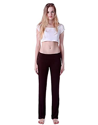 HDE Women's Slimming Fold Over Rolled Waist Yoga Pants (Brown, Small)