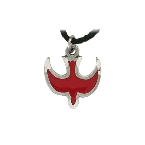 Pewter Holy Spirit Pendant with Red Epoxy