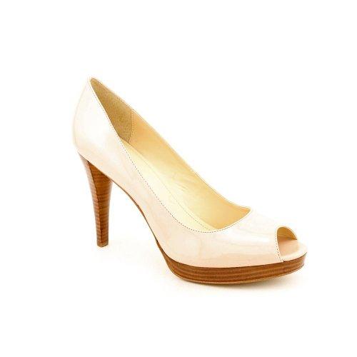 Calvin Klein Sandie Womens Size 9 5 Nude Peep Toe Patent Leather Platforms Shoes