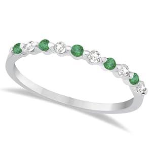 Allurez Diamond and Emerald Semi-Eternity Wedding Band Palladium (0.30ct) - F 1/2