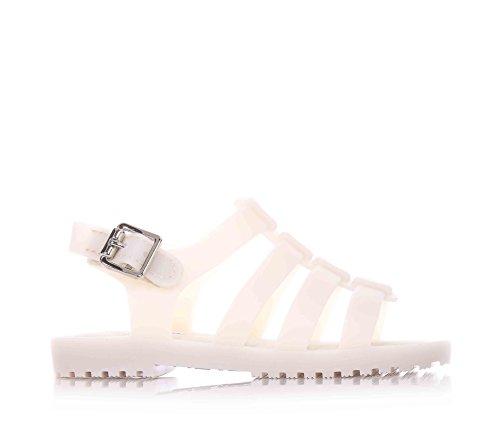 MINI MELISSA - Sandalo beige in plastica MELFLEX, gomma profumata, chiusura a strappo, ragnetto scarpa bianco, Bambina-22/23