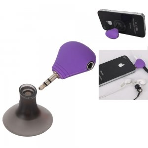 Onceall 3 In 1 Headphone Splitter & Dustproof Plug & Holder For Iphone/Ipad/Ipod Purple