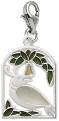 Rembrandt Charms Partridge in a Pear Tree Charm with Lobster Clasp, Rhodium Plated Silver