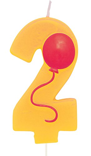 Creative Converting Molded Numeral with Balloon Birthday Cake Candle, 2, Yellow - 1