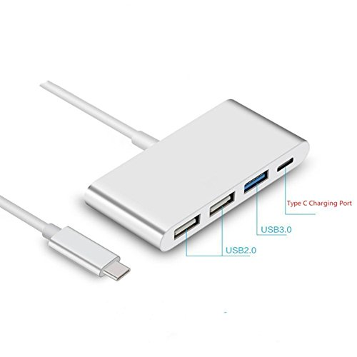 USB-C Multiport Adapter Converter USB 3.0 Type C Hub for New MacBook, ChromeBook Pixel, Nokia N1, Nexus 6/6p and Other Type-C Devices,1 USB C Charging Port and 3 USB A Ports