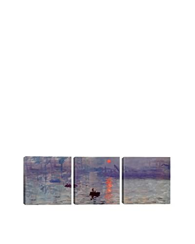 Claude Monet Sunrise Impression (Panoramic) 3-Piece Canvas Print