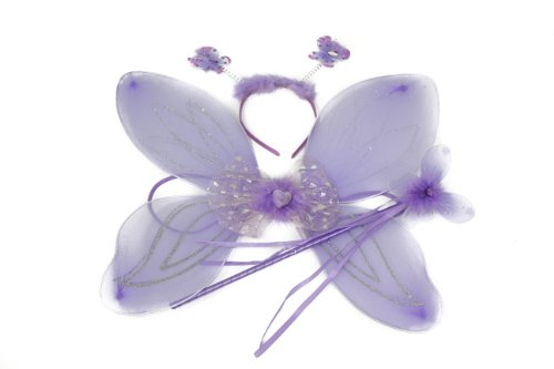 Girls 3 Piece Set Fairy Wings (35x35cm), Wand and Deeley Bopper In Lilac