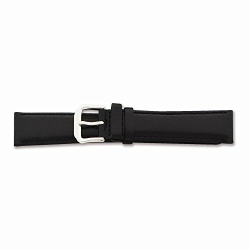 17Mm Black Smooth Leather Silver-Tone Buckle Watch Band