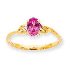 10k Genuine Pink Tourmaline Birthstone Ring - Size 6 - JewelryWeb