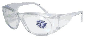 Mag-Safe Full Magnifying Reader Safety Glasses Reading Magnifier Eyewear Available from 1.25-3.00 Select Full Magnifier: +1.25 New Style