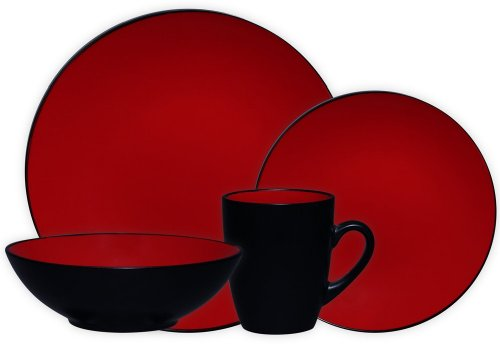 Cheap discount gibson arise 16 piece dinnerware set red - Black and red dinnerware sets ...