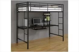 Walker Edison Twin Metal Loft Bed with Workstation, Back (Loft Beds For Kids With Desk compare prices)