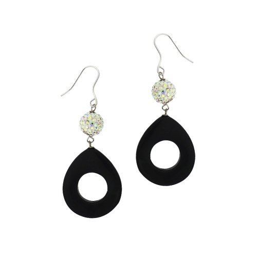 Sterling Silver Onyx Open Circle and Crystal Fireball Drop French Wire Earrings