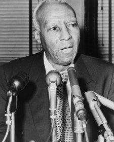 1964 Photo Asa Philip Randolph, Behind Microphones During A Press Interview / B7