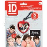 One Direction Singing Keychain, Red Heart with Group Image