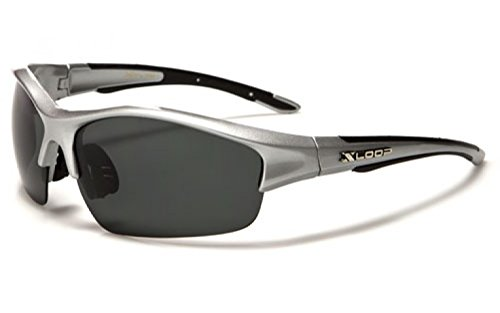New XLoop AURORA Polarised Sport Wrap Unisex Sunglasses Adult Medium (silver frame grey lens)