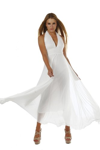 Marilyn Monroe Long Chiffon Pleated Halter Dress Maxi - White, Size - Medium