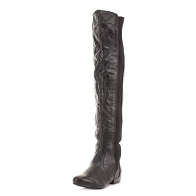 Womens Black Over Knee Leather Style Thigh Boots SIZE 5