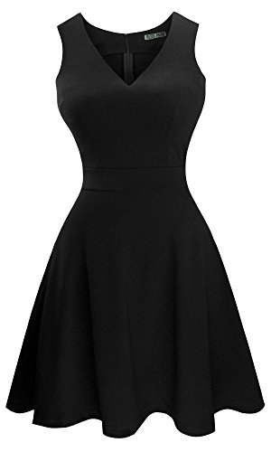 Heloise Women's A-Line Sleeveless V-Neck Pleated Little Black Cocktail Party Dress (L, Black)