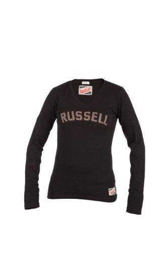 Russell Athletic - Pullover da donna, collo a V, Nero (nero), XL