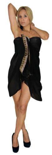 La Leela Sheer Black Designer Lace Embroidered Chiffon Beach Swim Hawaiian Sarong Pareo