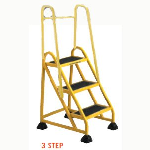 Stop-Step Ladder - 3 Steps with Handrails - Yellow