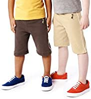 2 Pack Pure Cotton Drawstring Shorts with Stay New&#8482;