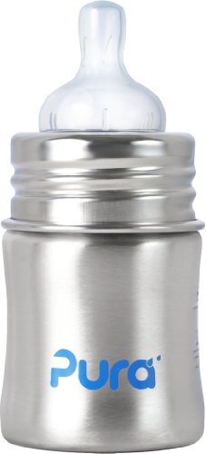 Pura Kiki Stainless Infant Bottle Stainless Steel with Natural Vent Nipple, 5 Ounce, Natural, 0-3 Months+