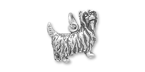 Sterling Silver Charm Yorkshire Terrier Dog 3d Yorkie Comes with a Split Ring 3d Yorkie Dog Charm