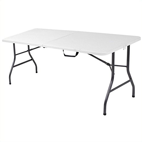 Cosco Products Centerfold Folding Table, 6-Feet, White Specked Pewter (Outside Table compare prices)