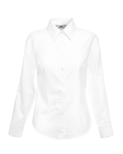 Fruit Of The Loom - Camicia Maniche Lunghe - Donna (L) (Bianco)