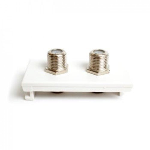 2 x Satellite Euro Module. WHITE F-Type Euro Modular. Twin Satellite Module 25mm x 50mm